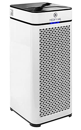 Medify Ma 40 Medical Grade True Hepa (H13 99.97%) Air Purifier That Easily Covers 800 Sq. Ft. | 330 Cadr | Particle Sensor, Modern Design, Touch Panel   White by Medify Air