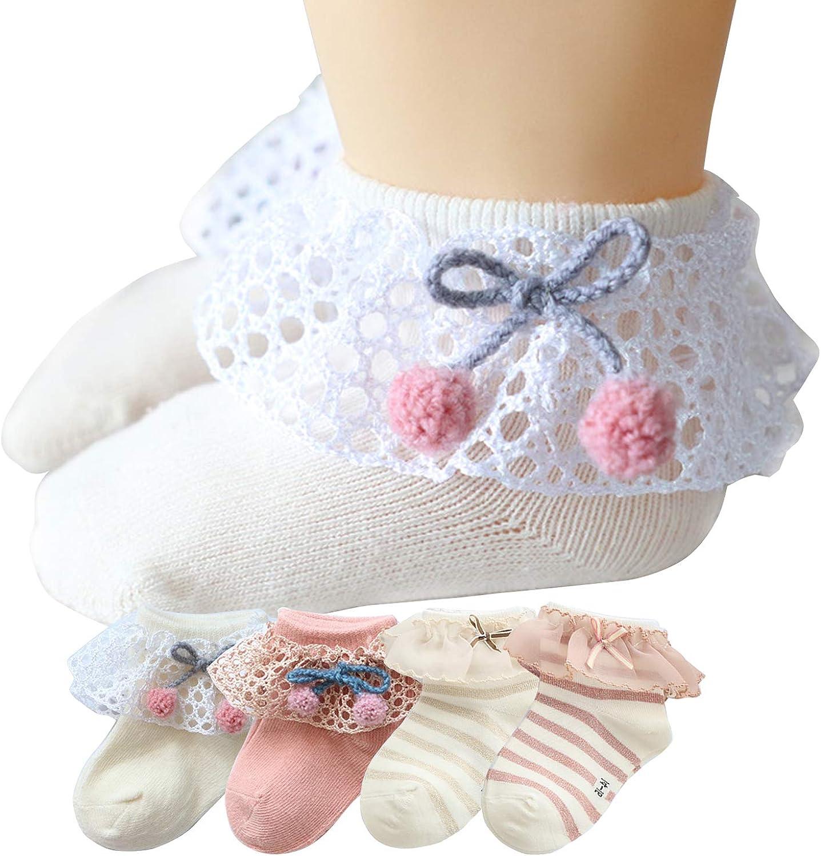 4 Pair Little Baby Girl Princess Eyelet Frilly Lace Ruffles Socks Set