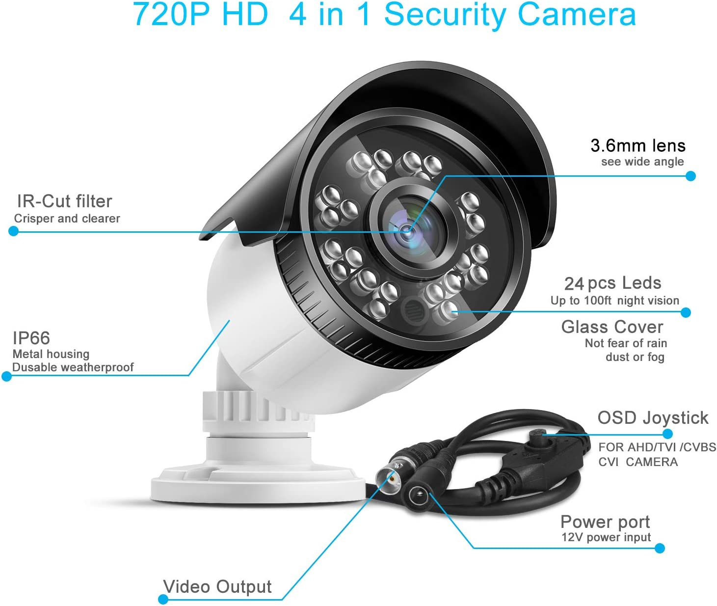 720P HD 1MP Hybrid 4-in-1 CCTV Camera Metal Night Outdoor Home Security System