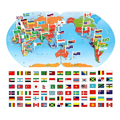 Amazon children wooden puzzle world map flag matching puzzle children wooden puzzle world map flag matching puzzle toy kids geography jigsaw puzzles toy l gumiabroncs Image collections