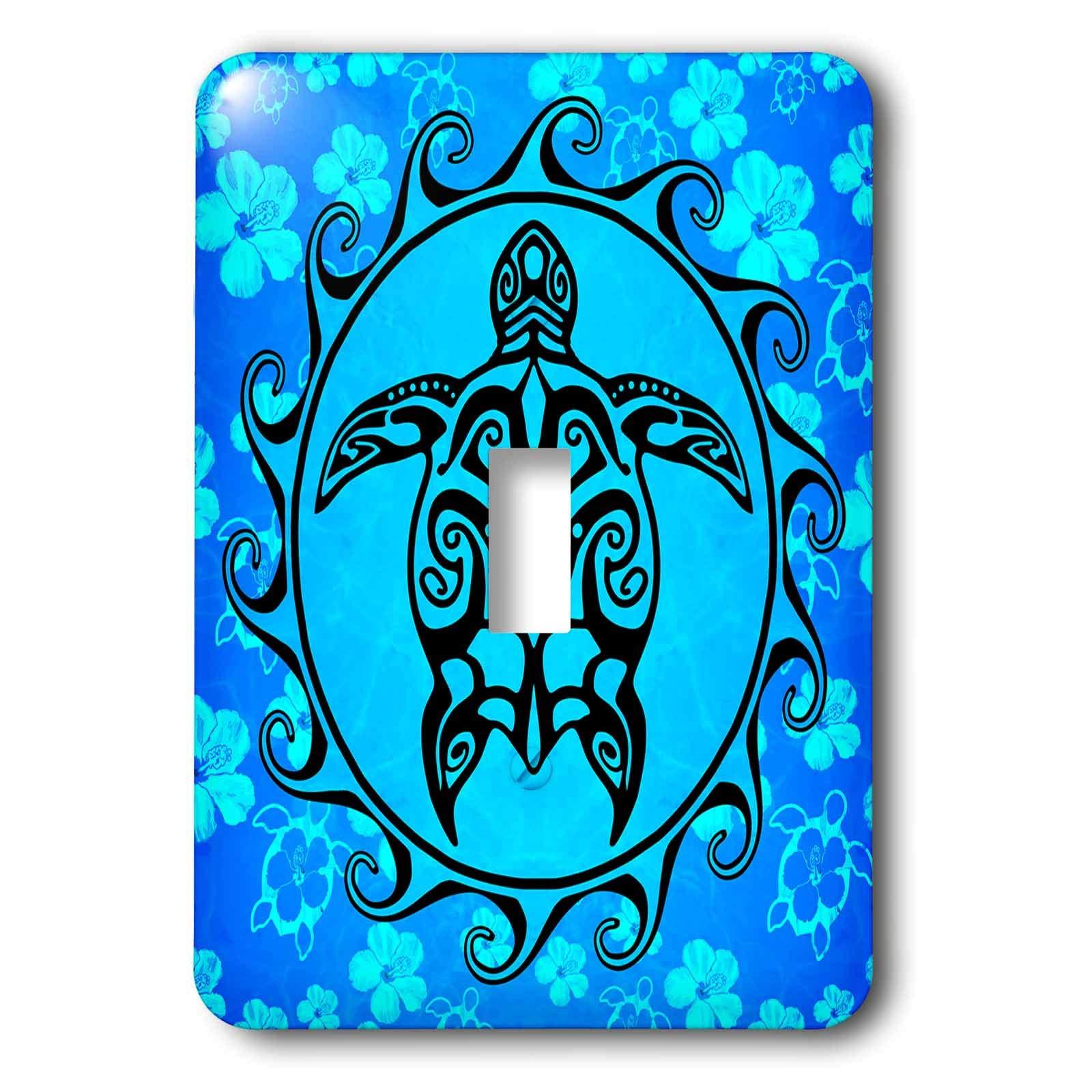 3dRose MacDonald Creative Studios – Tribal Animals - Ocean blue tribal sea turtle, Maori Sun Polynesian symbol and pattern. - Light Switch Covers - single toggle switch (lsp_295357_1)