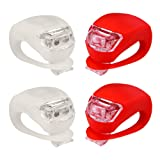 Refun Bicycle Light - Front and Rear Silicone LED Bike Light Set - 2 High Intensity Multi-purpose Water Resistant Headlight - 2 Taillight for Cycling Safety– Spare Batteries Included