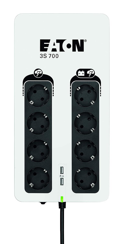 Eaton 3S UPS 700VA 3S700D Negro y Blanco Sistema de alimentaci/ón ininterrumpida SAI Off-Line 8 Salidas Tipo DIN