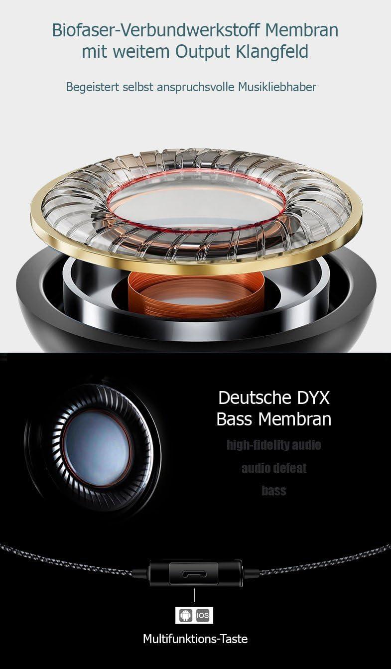 MP3-Player QKZ DM1 In-Ear-Kopfh/örer Stereo Ohrh/örer 108dB mit Mikrofon Headset f/ür alle Smartphones Tablets Ausbalancierter Klang mit verst/ärktem Bass Sound Schwarz