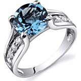 Swiss Blue Topaz Solitaire Style Ring Sterling Silver 2.25 Carats Sizes J to S