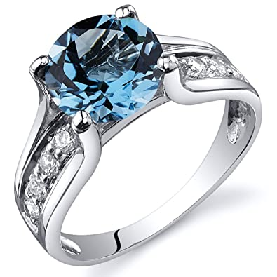 Superbe Swiss Blue Topaz Solitaire Style Ring Sterling Silver Rhodium Nickel Finish  2.25 Carats Size 5