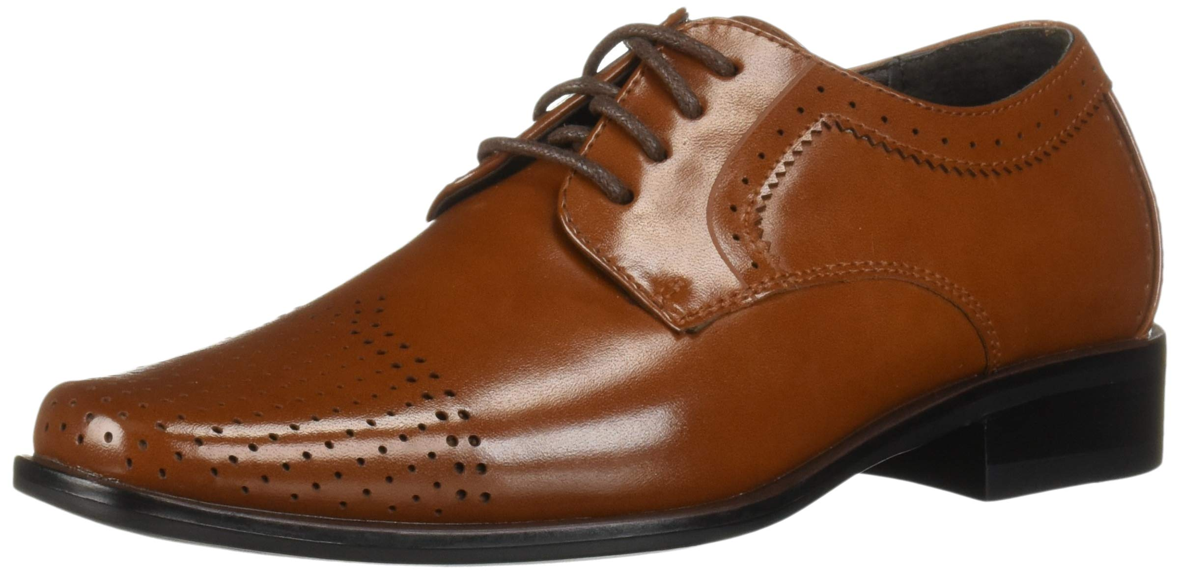 STACY ADAMS Unisex Sanborn Perfed Cap Toe Lace-Up Oxford, Cognac 5 M US Big Kid