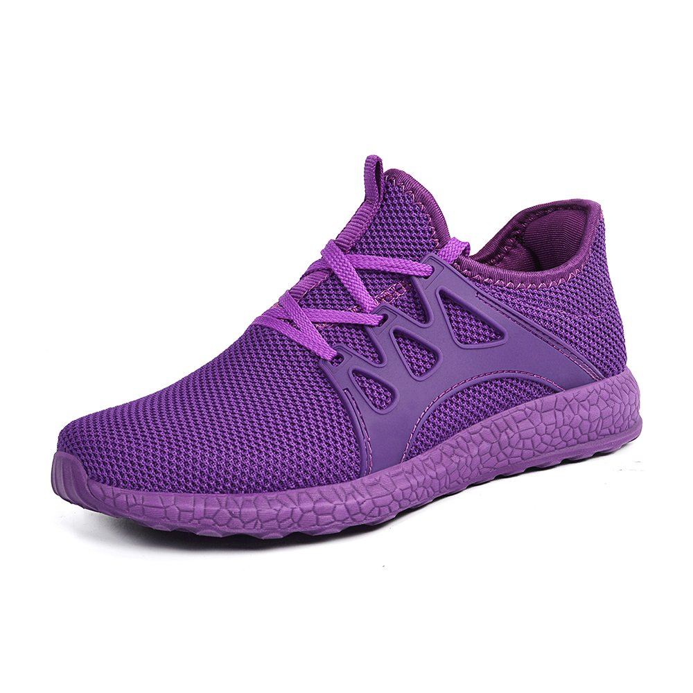 Feetmat Womens Sneakers Ultra Lightweight Breathable Mesh Athletic Walking Running Shoes Purple 9 by Feetmat