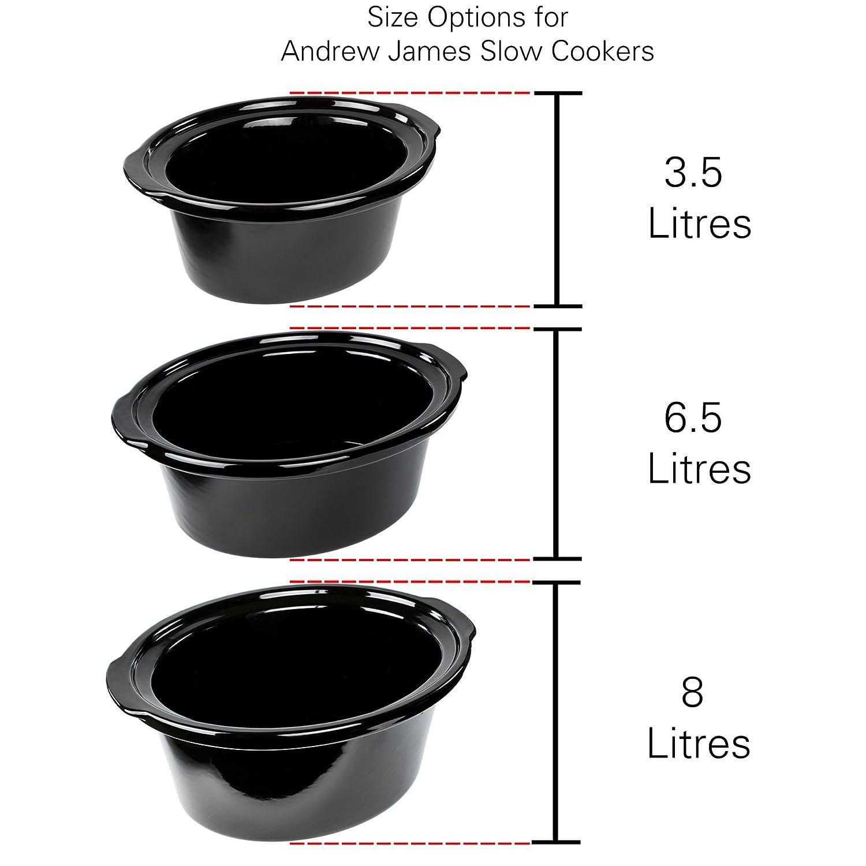 1,5 Liter Schongarer Hartglasdeckel und Abnehmbarer Keramik-Innentopf Rot Andrew James Slow Cooker Ideal zum Kochen von bis zu 6 Mittelgro/ße Portionen 120W 3 Temperatureinstellungen