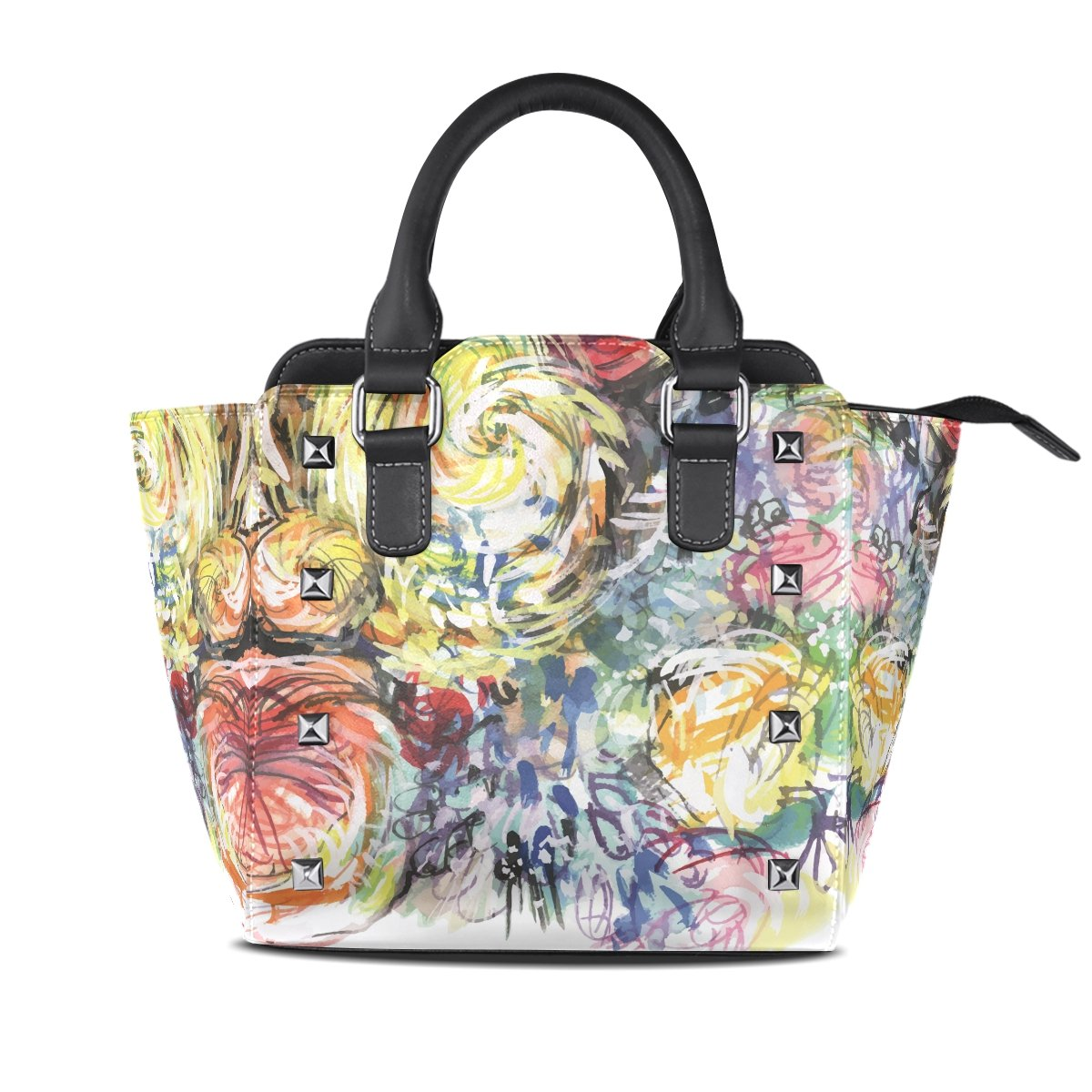 Womens Genuine Leather Hangbags Tote Bags Abstract Water color Map Purse Shoulder Bags