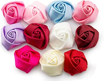 Summer-Ray Mixed Color Satin Roses Rosettes Flower Ribbon Flower DIY Craft Wedding Decorations 20mm, 200pcs