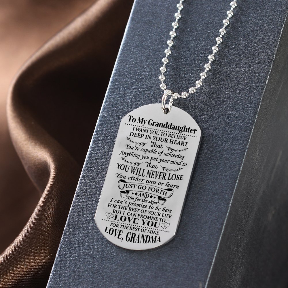 Stashix To My Granddaughter I Want You To Believe Love Grandma Dog Tags Necklace Birthday Gift Jewelry Graduation Military Personalized by Stashix (Image #3)