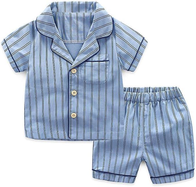 Pijama Rayas Azul/Gris Conjunto Ropa Casual Manga Corta Camisa y Pantalón Corto Pijamas Bebé Verano Algodon Dos Piezas Sleepwear: Amazon.es: Ropa y accesorios