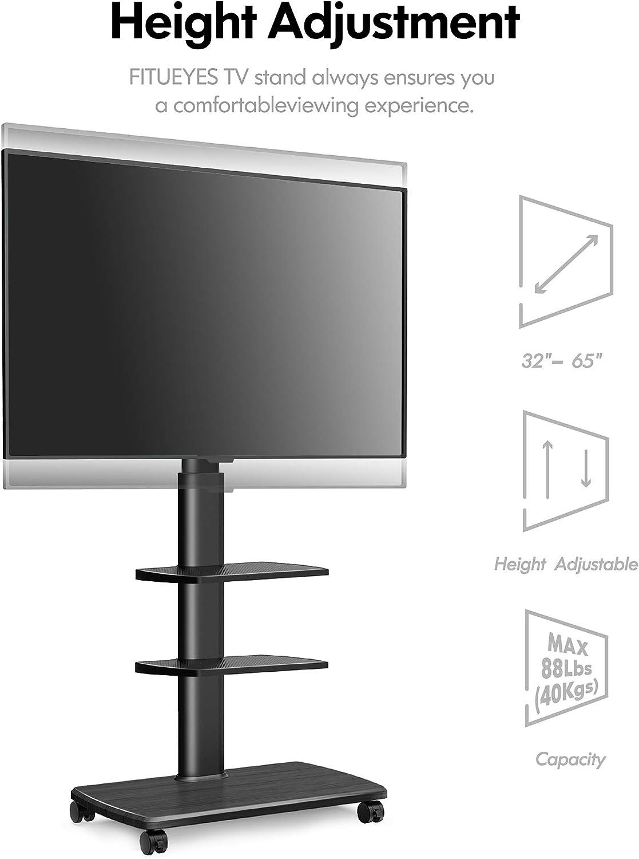 Mobile TV Girevole FITUEYES Supporto TV Portata Max 40kg Regolabile in Altezza con Staffa in Vetro con Ruote Porta TV da 32 a 65 pollici LCD LED TT306503GB
