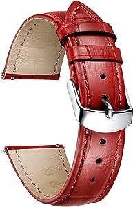 BINLUN Correa de Reloj de Cuero con Patrón de Cocodrilo Genuino para Hombres Mujeres 10 Colores (12 mm, 14 mm, 16 mm, 17 mm, 18 mm, 19 mm, 20 mm, 21 mm, 22 mm, 23 mm, 24 mm)