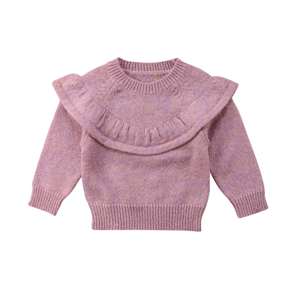 Bulingna Toddler Infant Baby Girl Ruffle Long Sleeve Knitted Sweater Pullover Tops 0-3T