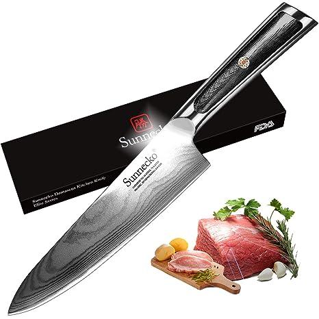 Amazon.com: Sunnecko Chef Cuchillo de cocina japonés VG-10 ...