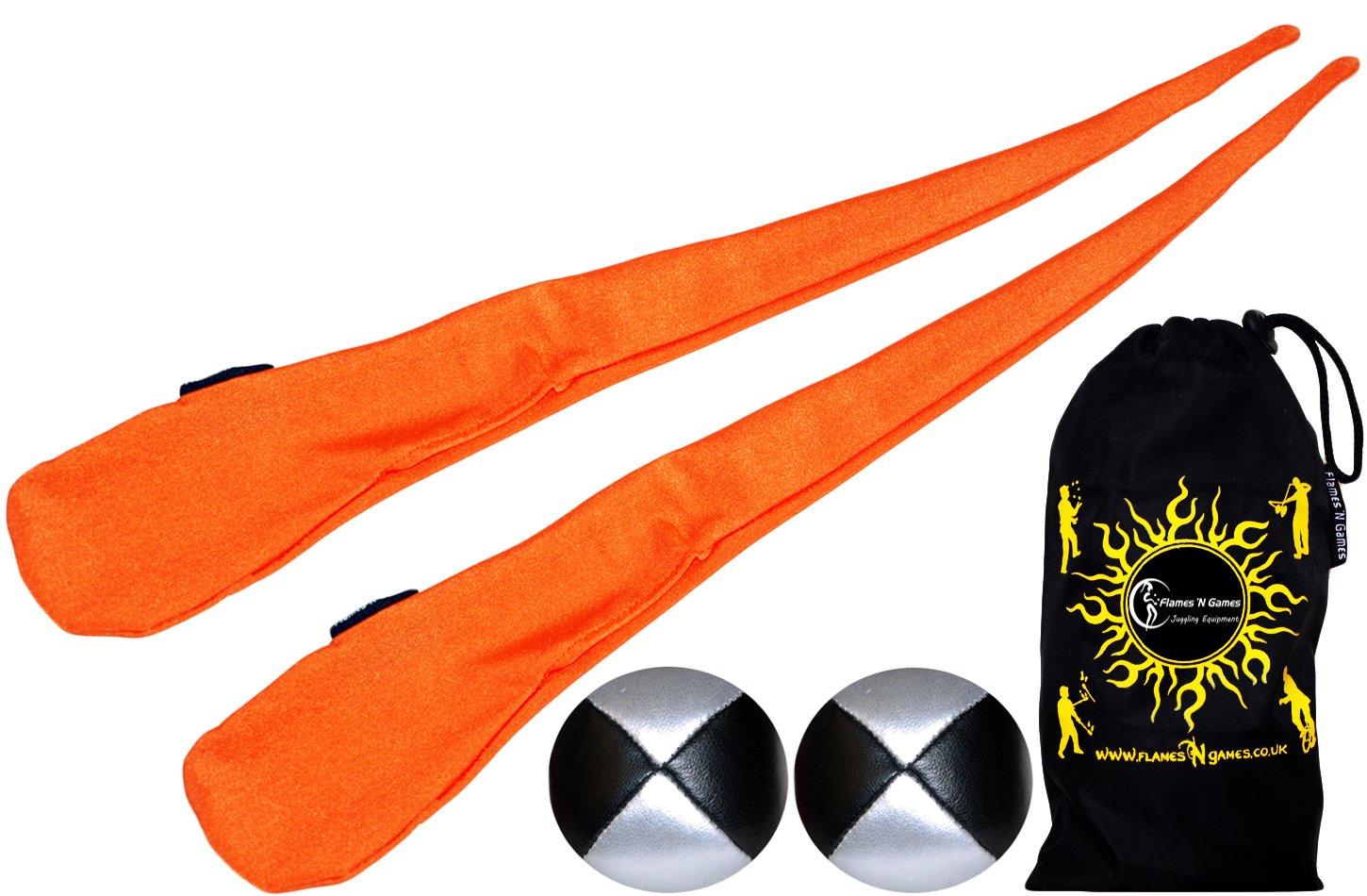Flames N Games Sock Poi Set ORANGE Pair of Quality Stretchy Lycra Spinning Poi Socks 2x90g Balls Travel Bag.