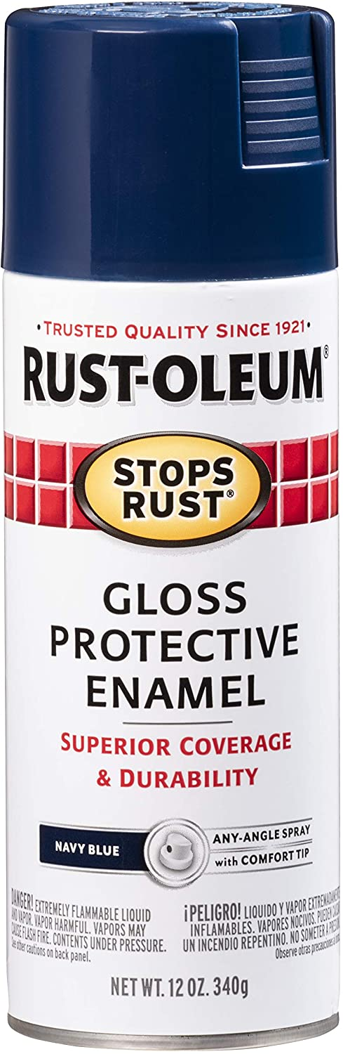 Rust-Oleum 7723830 Stops Rust Spray Paint, 12-Ounce, Gloss Navy