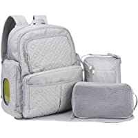 Diaper Backpack, 3 in 1 Multifunction Mummy Maternity Stroller nappy Bag with Adjustable Shoulder Straps and Waterproof Changing Pad for Travel with Baby (Grey)