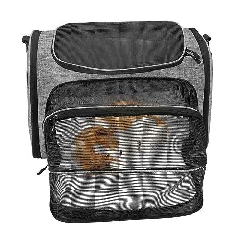 WLDOCA Bolsa de Transporte Ampliable para Gatos Perro pequeño, Bolso Bandolera de tamaño Mediano para