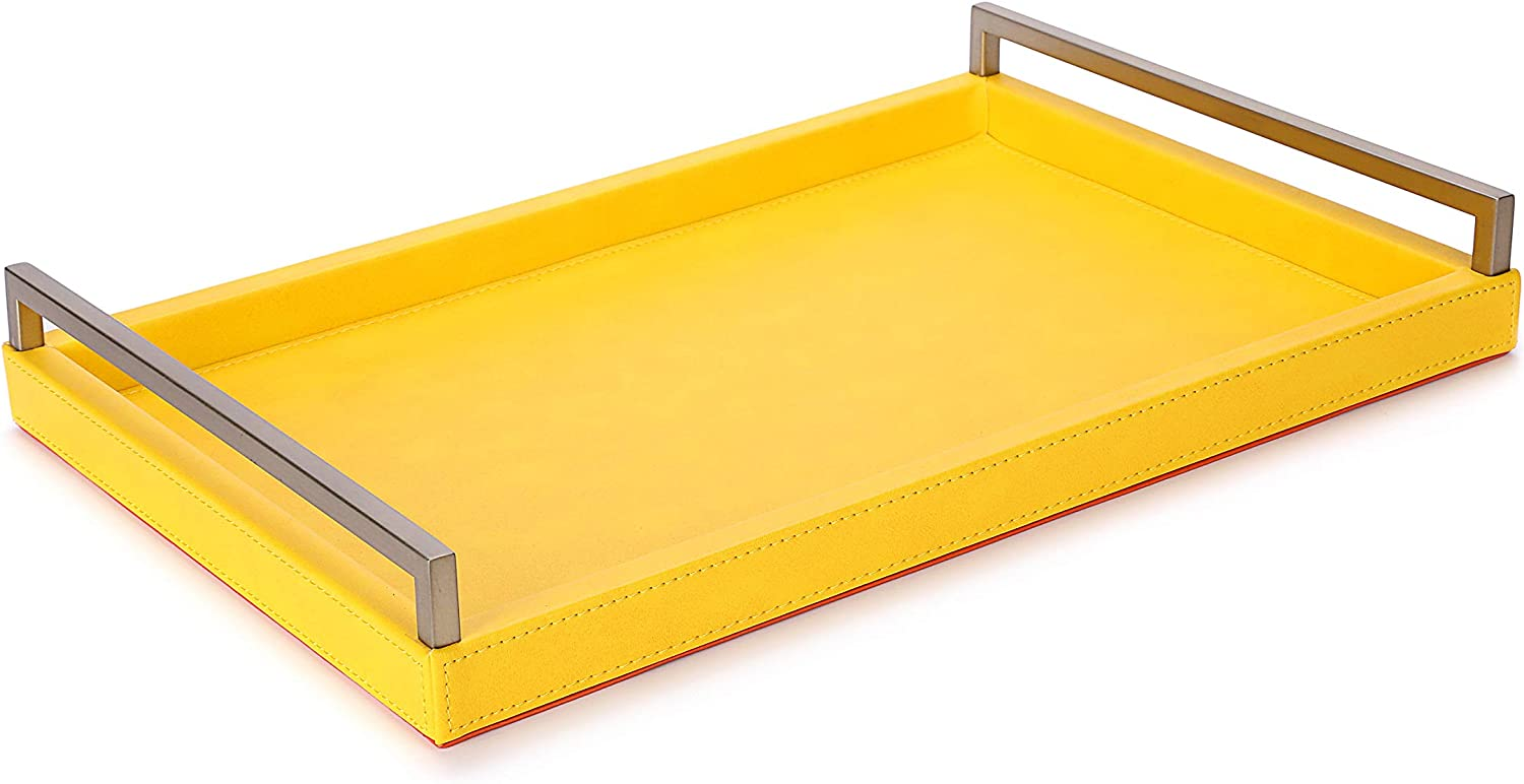 WV Yellow Modern Decorative Tray Faux Calfskin Finish with Champagne Gold Stainless Steel Handles (Yellow Faux Calfskin)