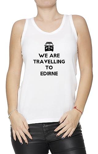 We Are Travelling To Edirne Mujer De Tirantes Camiseta Blanco Todos Los Tamaños Women's Tank T-Shirt...
