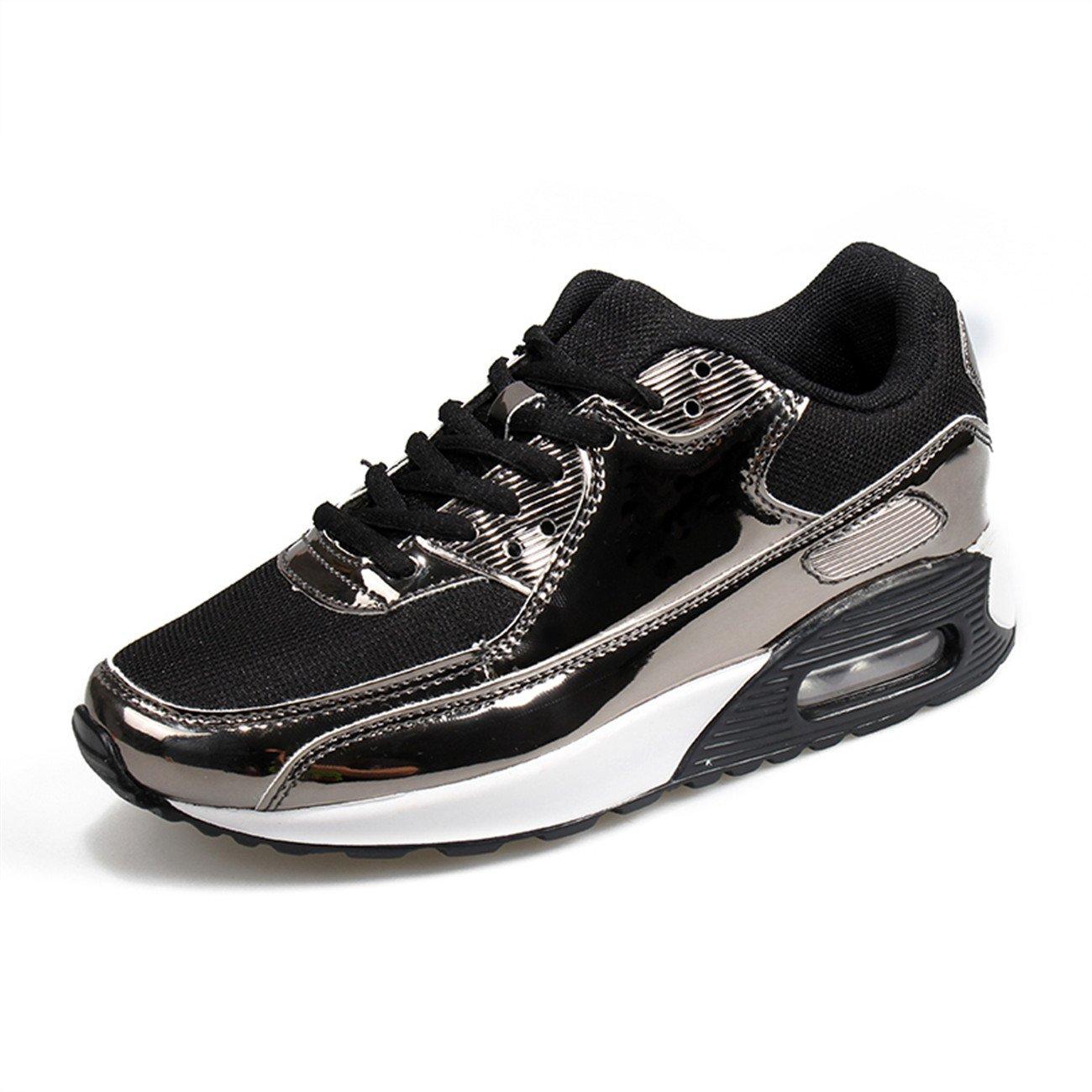 XINGLAN Men Women Unisex Couple Casual Running Sneakers Breathable Athletic Air Cushion Sports Shoes B073QVD89G Women 10 B(M) US / Men 8.5 D(M) US|Black