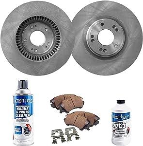 Detroit Axle - 330mm Front Disc Brake Rotors Ceramic Pads for 2009-2011 Hyundai Genesis V8 4.6L - [2012-2014 Genesis V6 3.8L] - Sedan ONLY