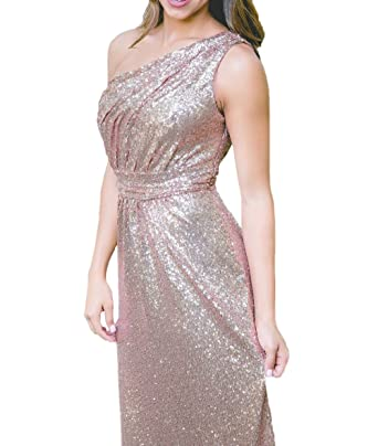 Miao Duo Womens Sequins Rose Gold Long Cheap Maxi Bridesmaid Formal Dresses