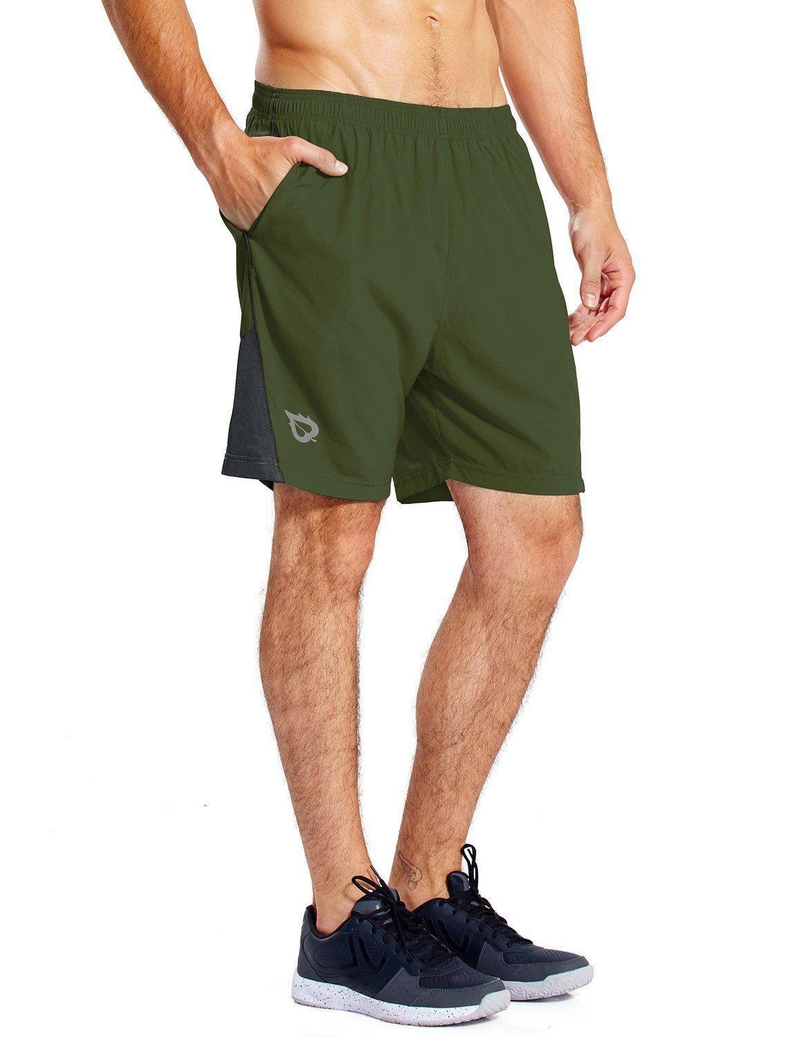Baleaf Men's 7 Inches Quick Dry Workout Running Shorts Mesh Liner Zip Pockets Green Size S