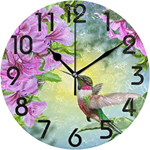 Naanle 3D Beautiful Hummingbird Flowers Print Round Wall Clock Decor, 9.5 Inch Battery Operated Quartz Analog Quiet Desk Clock for Home,Office,School