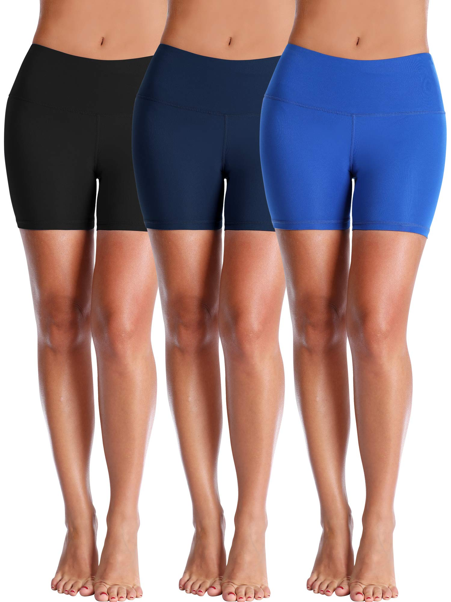 Cadmus Women's High Waisted Compression Shorts,3 Pack,1025,Black,Navy Blue,Blue,Small by Cadmus