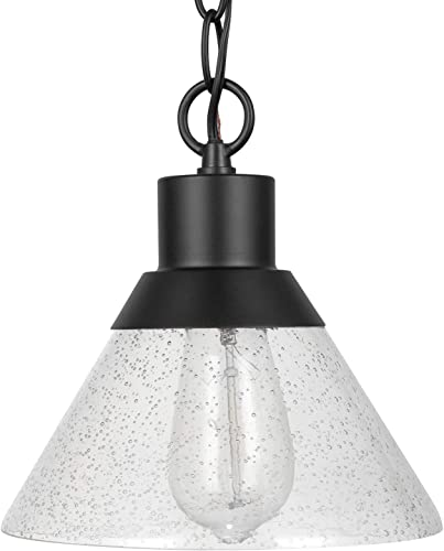 Amazon Brand Stone Beam Contemporary Outdoor Pendant Light with Clear Seeded Glass Shade, Vintage Edison Bulb Included, 7 H, Matte Black