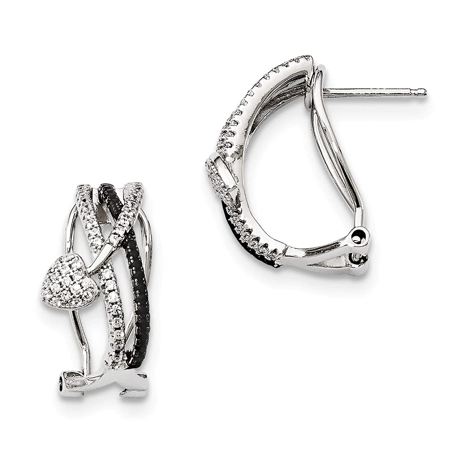 Brilliant Embers 925 Sterling Silver Rhodium-plated Polished Black Spinel /& CZ Heart Hoop Earrings