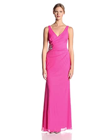 JS Boutique Women's V-Neck Jersey Chiffon Gown with Side Detail, Hot Pink, 4