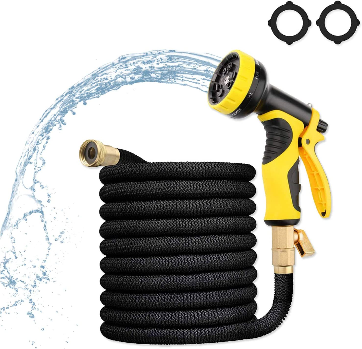 50FT EXPANDABLE GARDEN HOSE HIGH PRESSURE WATER HOSE 9 FUNCTION NOZZLE AND 3 | 4 SOLID BRASS CONNECTOR 3750D SUPER DURABLE FLEXIBLE GARDEN HOSE FOR WATERING CAR BEAUTY CLEANING