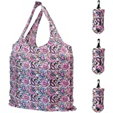 HOLYLUCK Set of 3 Reusable Grocery Bags,Heavy Duty Foldable Shopping Tote Bag, Holds Up To 42 lbs - Butterfly Flowers