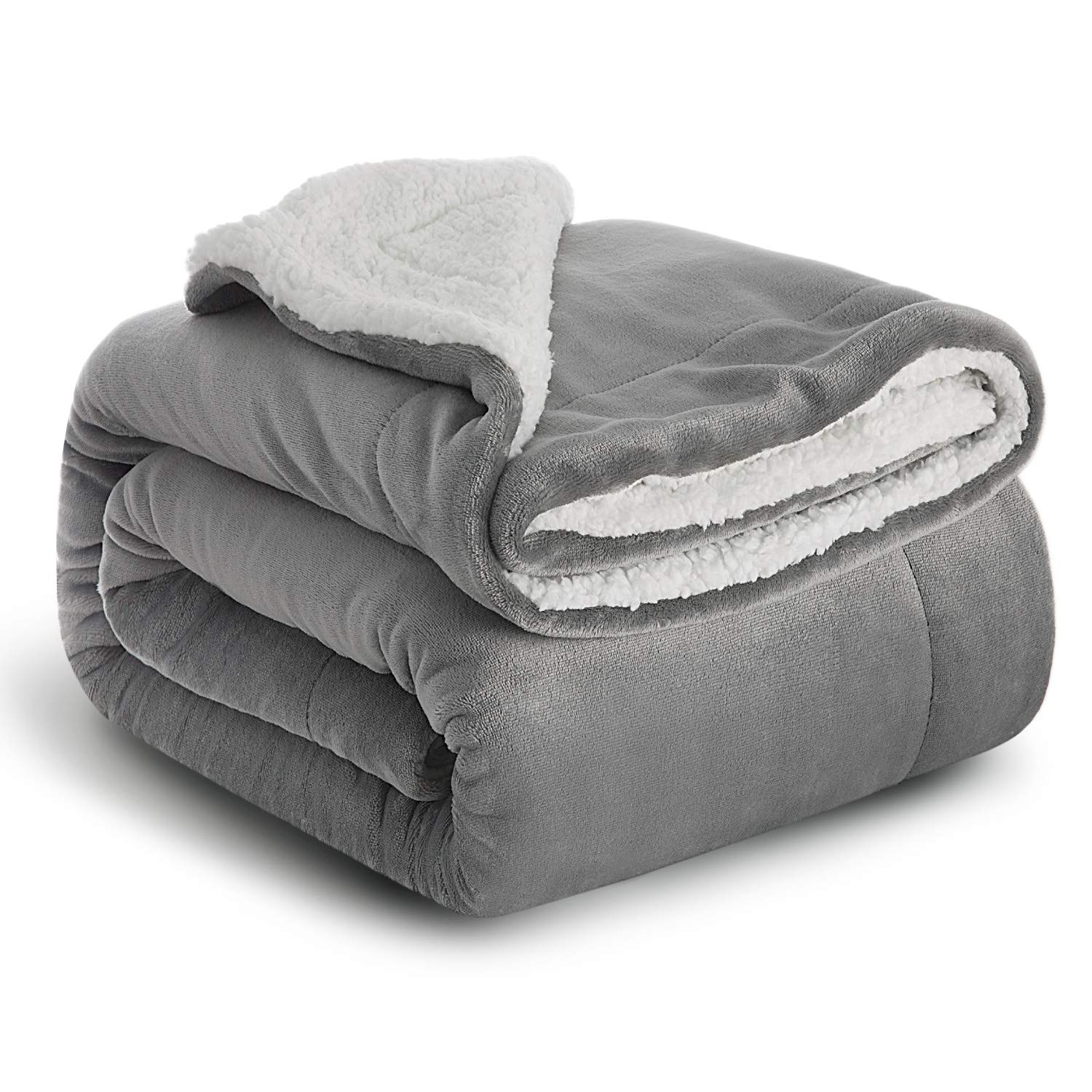 CDM product Bedsure Grey Sherpa Twin Blanket Plush Blanket Fuzzy Soft Super Cozy Microfiber, Warm Winter Blankets for Bed Sofa Couch big image