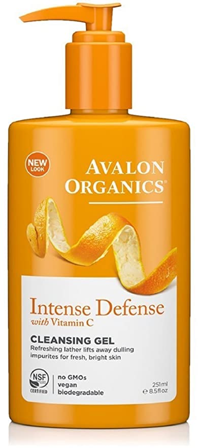 3 Pack - Avalon Organics Intense Defense with Vitamin C Cleansing Gel 8.50 oz Dermal Dermal Charcoal Collagen Essence Mask (10 Pieces)