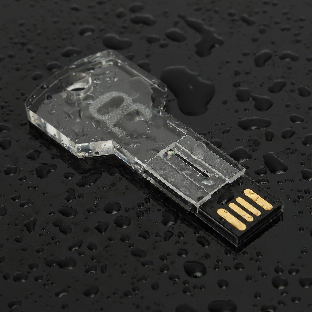 Amazon Com Usb Flash Drive Onchoice 16gb Usb 2 0 Memory Stick Led Thumb Drive Crystal Transparent Blue Key Shape Computers Accessories