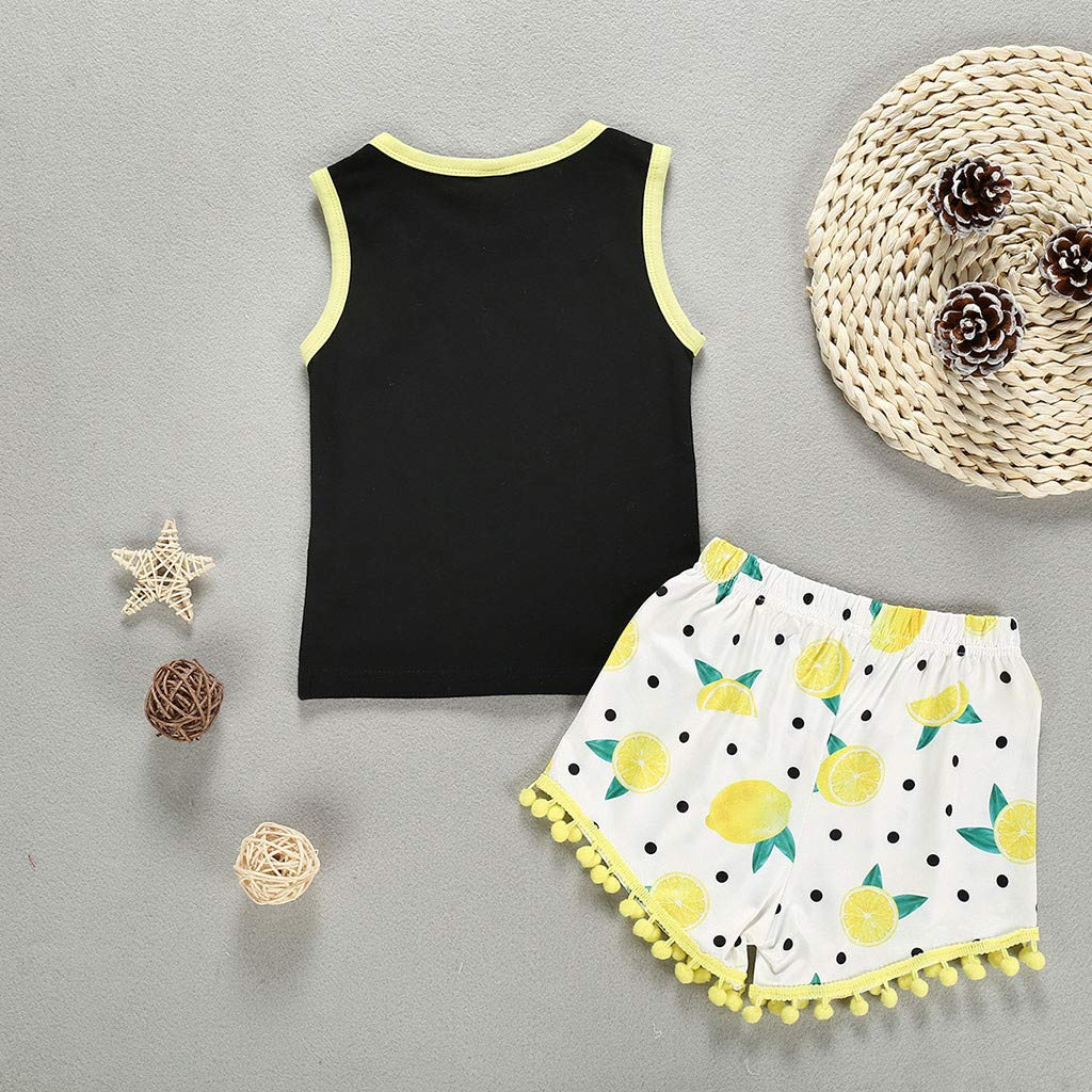 XEDUO Toddler Baby Boys Girls Sleeveless Letters Vest Tops Lemon Tassels Shorts Outfits Sets Baby Outfits