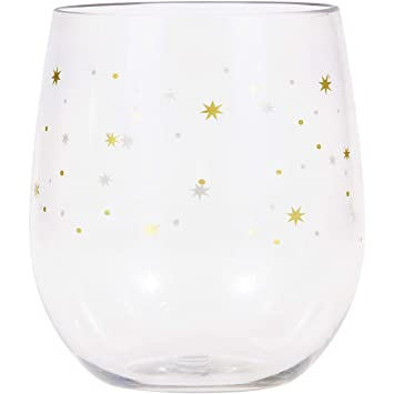 ae5b0ba017c Image Unavailable. Image not available for. Color: Stars Plastic Stemless  Wine Glasses by Elise, 6 ct