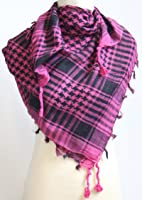 Checks Scarf - Black and Dark Pink