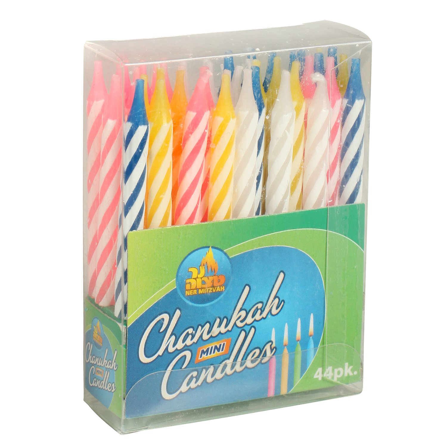 Multicolor Mini Hanukkah Candles / Birthday Candles, 44 Pack Ner Mitzvah 28330