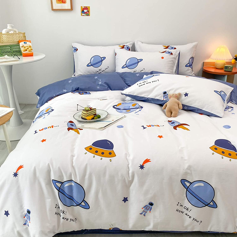 BlueBlue Universe Duvet Cover Set Queen 100/% Cotton Bedding for Kids Boys Girls Teens Cartoon Astronaut Constellation Rocket Galaxy Star on White 1 Space Ship Comforter Cover Full 2 Pillowcases Queen