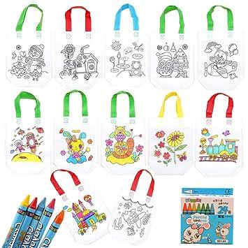 Gudotra 12 pcs Bolsas para Colorear Bolsas Infantiles DIY Graffiti Regalos de Cumpleaños Comuniones Celebraciones + 24 pcs Bolígrafos