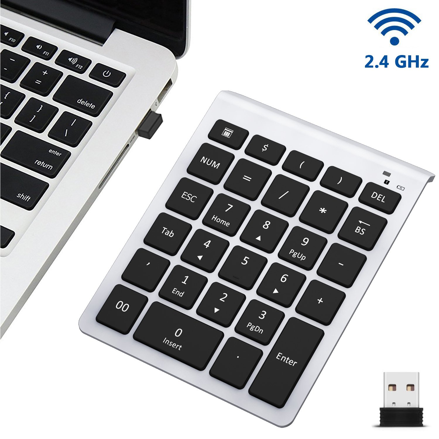 Wireless Number Pad, 7Lucky 2.4G Multi-Function Numeric Keypad : 28 Key Numpad Keyboard With Mini USB Receiver for Laptop Desktop PC Notebook, Surface pro, Windows 7, 8, 10, XP, Vista - Silver