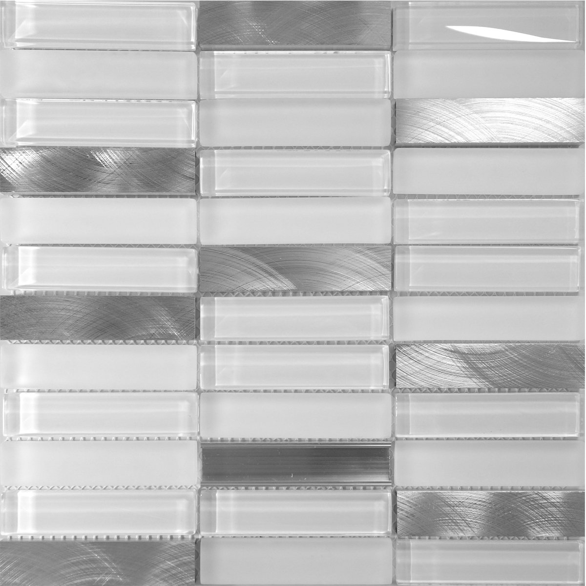 Modket TDH221MO Modern Super White Crystal Glass Blended Metallic Aluminum and Matted Glass Mosaic Tile Backsplash