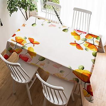 Violetpos Mantel lino mantel Lino Cuidado fácil lavable antimanchas Ropa de mesa amarillas Amapolas atractivo Flores, algodón, amarillo, ...